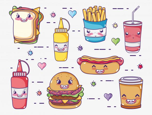 Dibujos Kawaii de comida