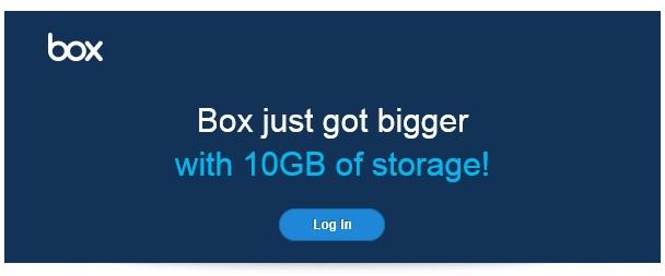 Box-10 gb de almacenamiento