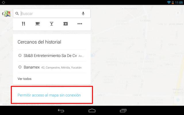Google Maps sin conexión a Internet en Android