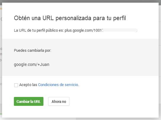 URL personalizada Google+