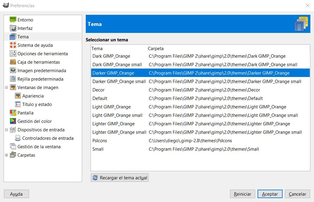 Preferencias de GIMP