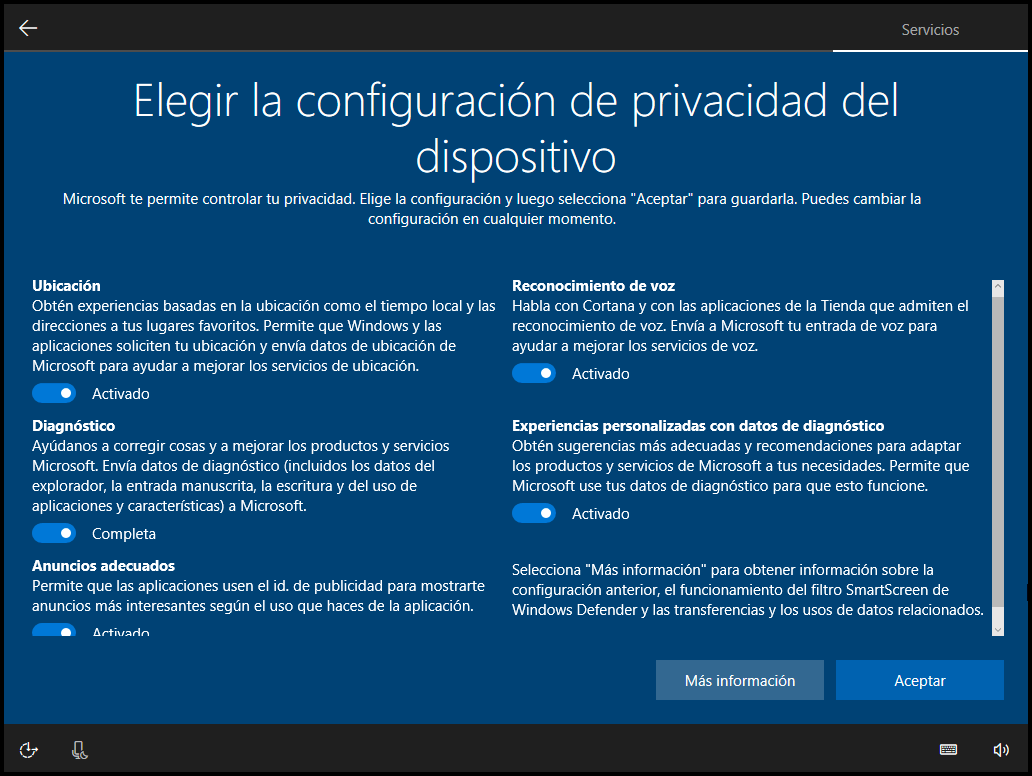 Privacidad Windows 10 Creators Update