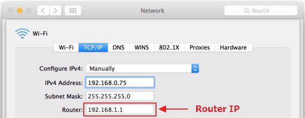 IP del router en Mac OS X