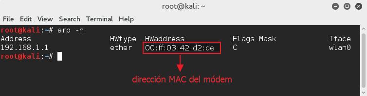 direccion MAC modem en Linux