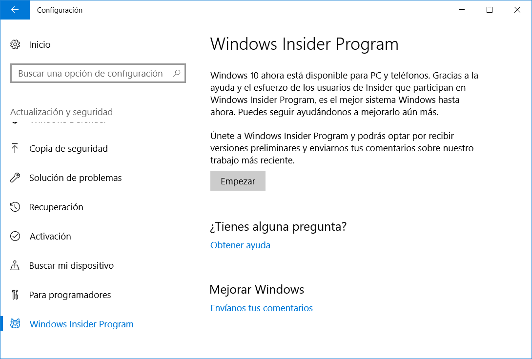 Programa Windows Insider