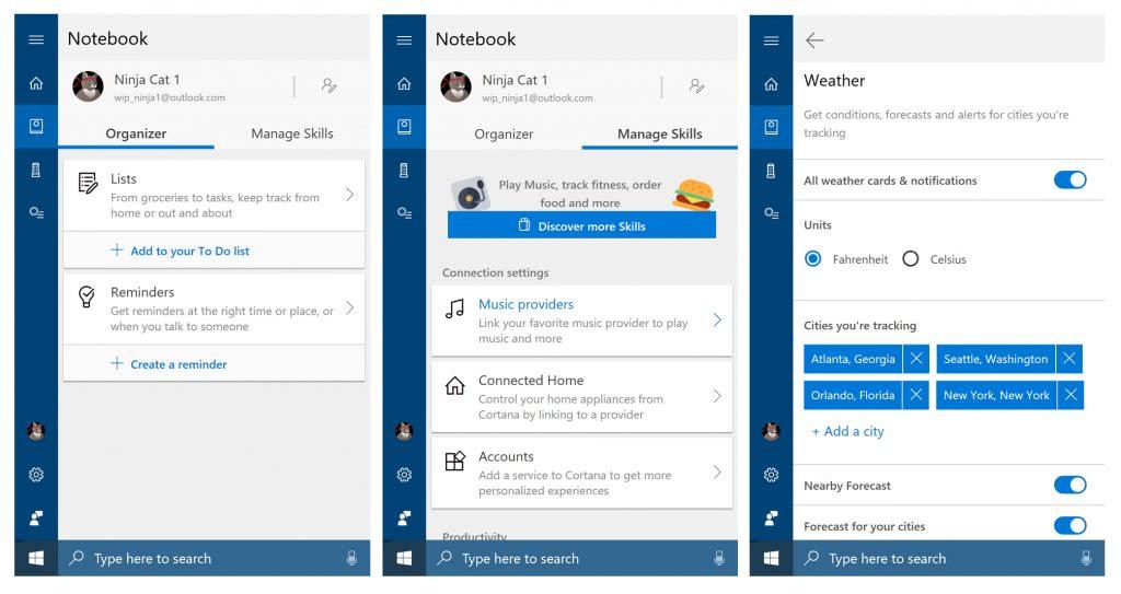 Cuaderno de Cortana