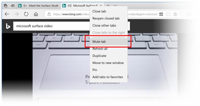 Silenciar pestaña en Microsoft Edge