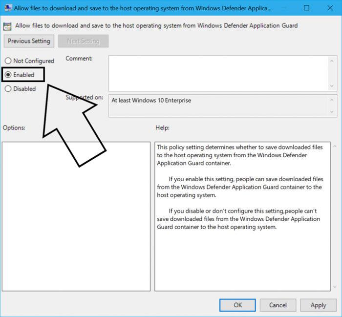 WDAG descargar archivos al host