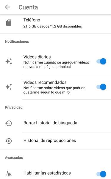 Opciones de Youtube Go
