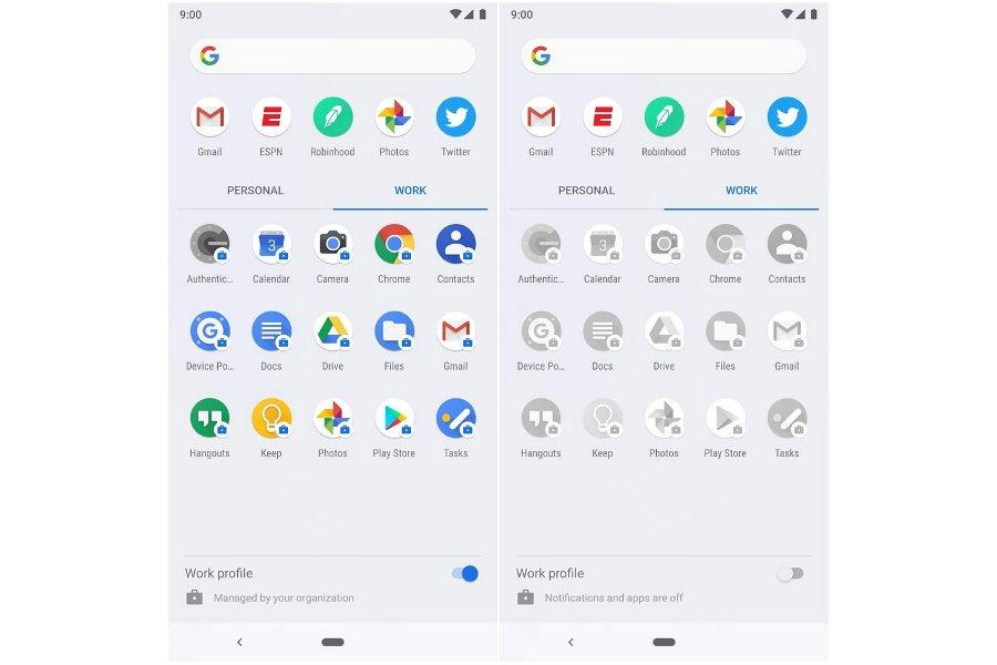 Perfil de trabajo en Android P