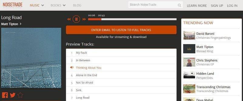 Noisetrade, escucha álbumes completos de artistas