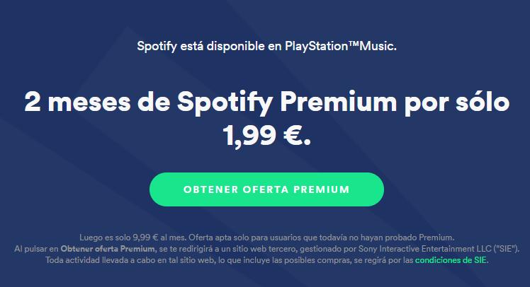 Promoción de 2 meses de Spotify Premium para usuarios de PlayStation