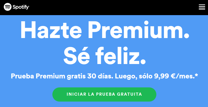 Prueba gratis Spotify Premium 30 días