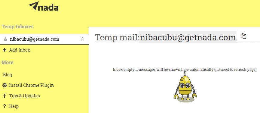Getnada servicio para crear cuentas temporales