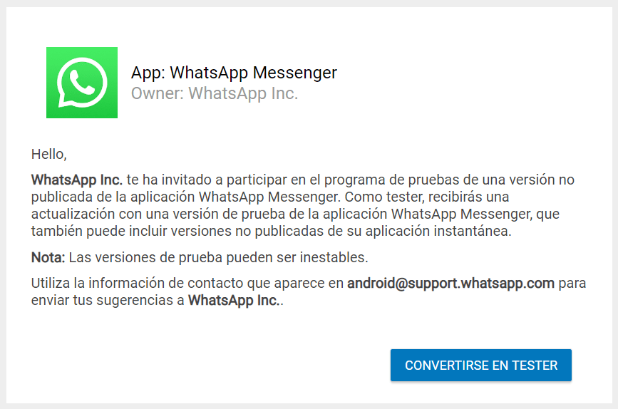 WhatsApp Beta Tester