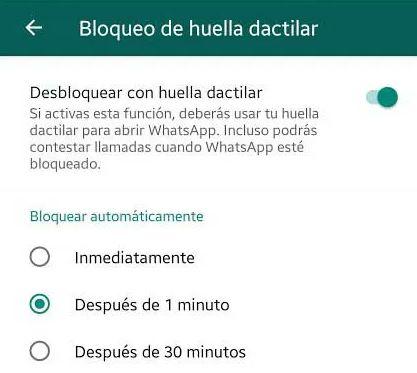 Bloquear WhatsApp huella