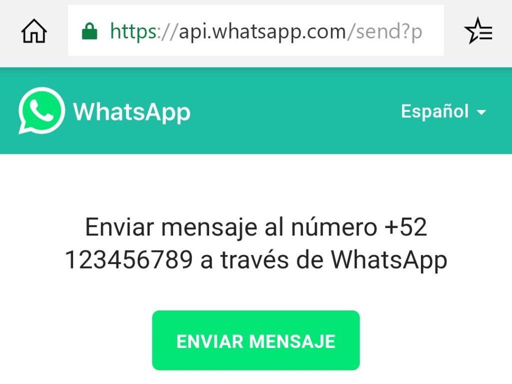 Enviar mensaje sin agregar a contacto