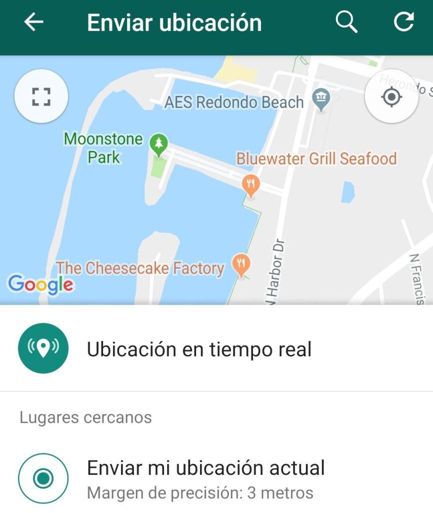 Ubicación en tiempo real WhatsApp