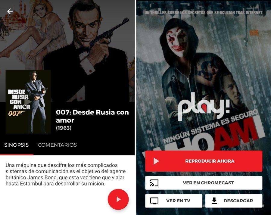 Ver películas gratis en Play! app