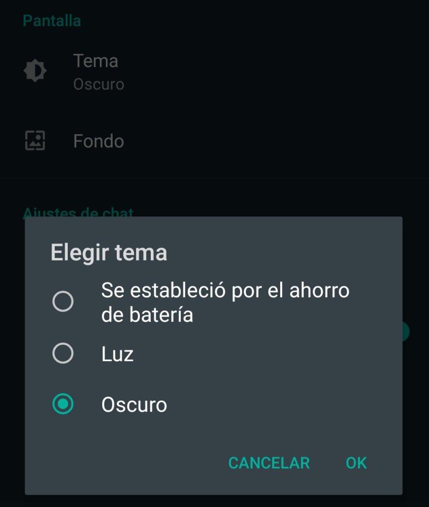 activar modo oscuro de WhatsApp en Android