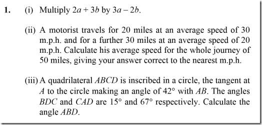 First question from a 1968 O Level maths paper (syllabus 1)