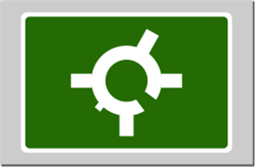 Roundabout with a service road