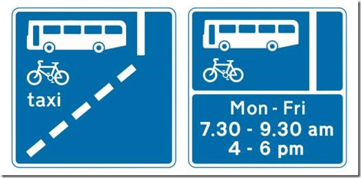 Bus Lane signs from the Highway Code