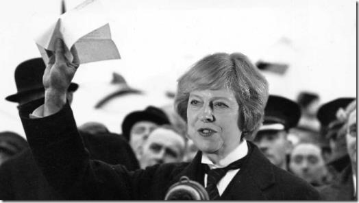 "History repeats - Theresa May in ""Peace for our time"" pose"