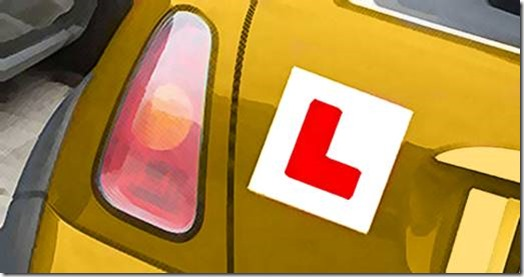 'L' plate on learner car