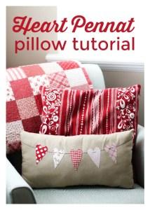 Heart Pennant pillow tutorial
