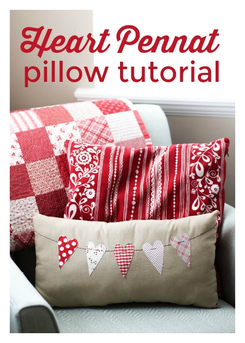 Heart Pennant pillow tutorial