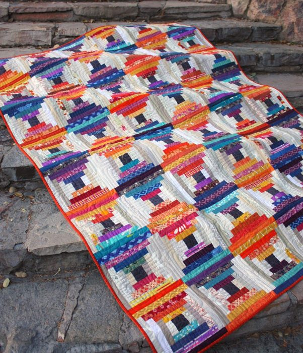 Chinese Lantern Log Cabin Quilt - use fabric scraps
