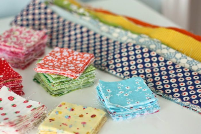 Sort fabric scraps by precut size