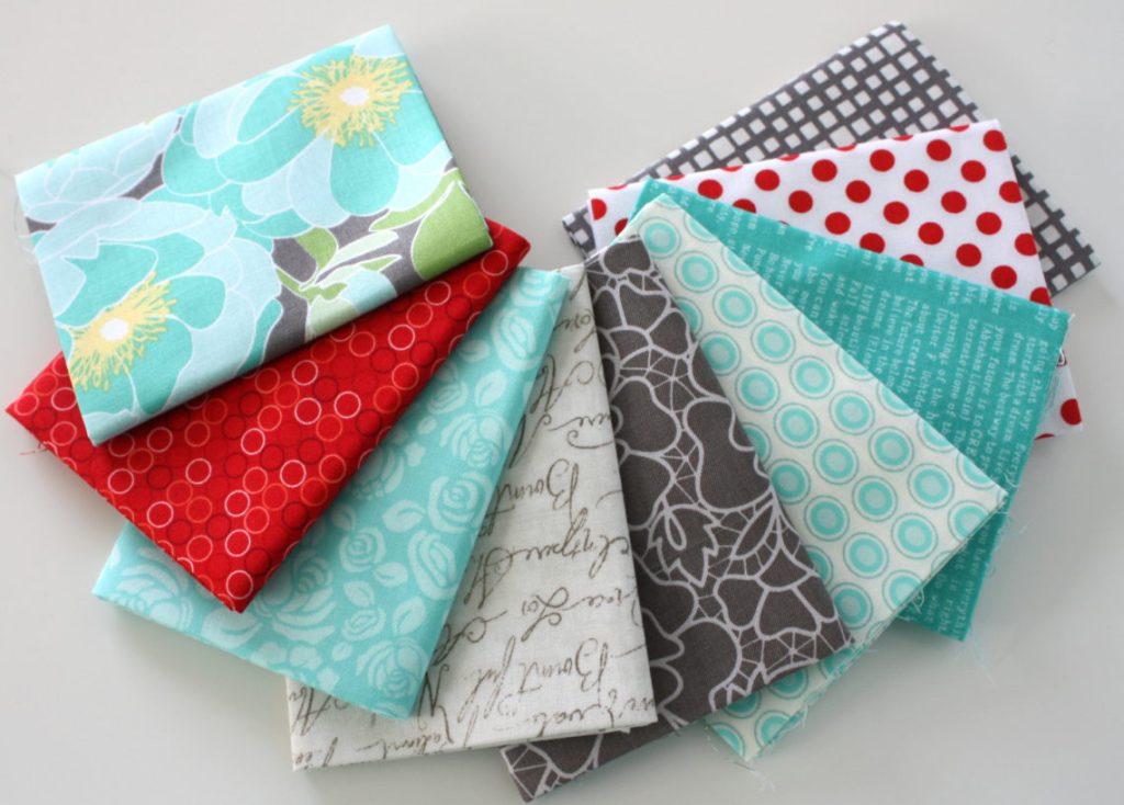 Red, gray, aqua fat quarter fabric bundle