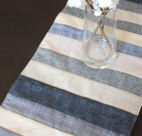 Denim Indigo and Linen tablerunner