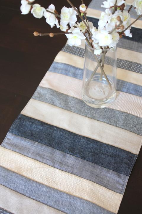 denim indigo linen handmade table runner