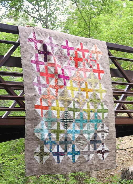 Rainbow hopscotch quilt