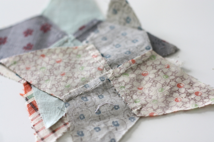 Hand pieced vintage quilt blocks