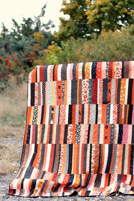 Halloween modern quilt made with scraps
