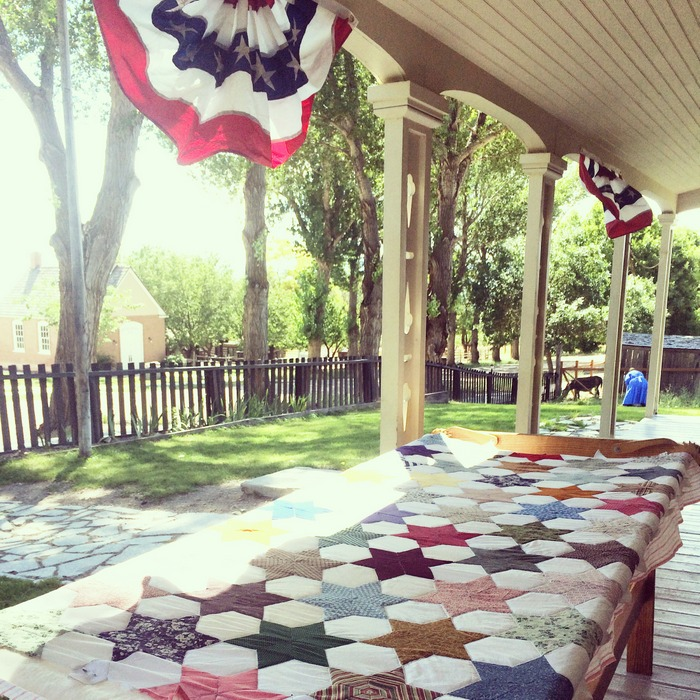 Quilt on the porch