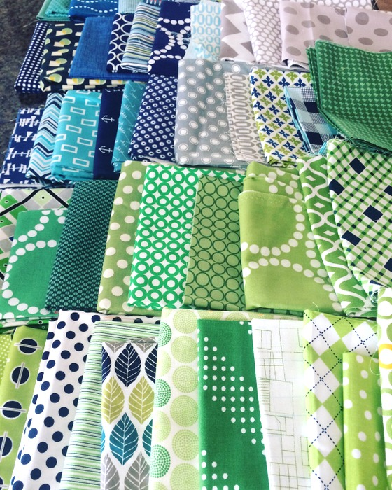 green and blue quilt stash