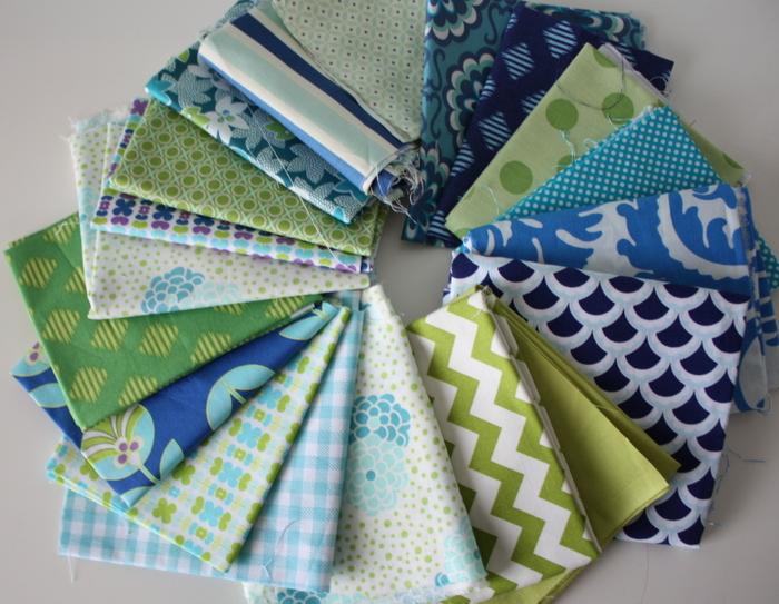 blue, aqua, green fabric bundle