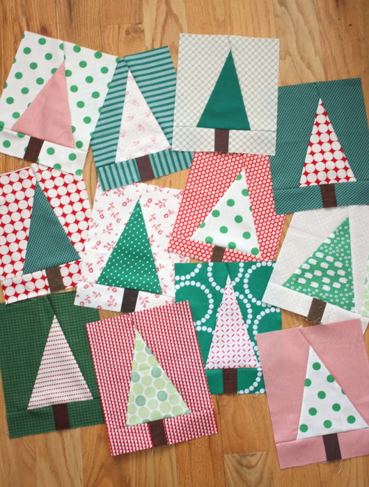 Modern Christmas Tree Quilt Blocks (2)