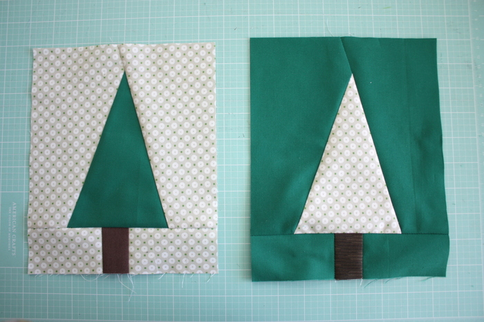 Modern Christmas Tree Quilt Block Pattern and Tutorial featured by top US quilting blog, Diary of a Quilter: Modern Christmas Tree quilt blocks