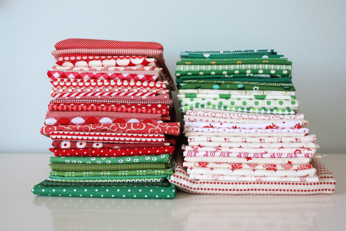 Red Green and White Christmas fabric