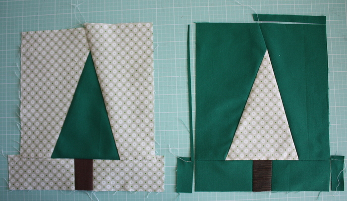 Modern Christmas Tree Quilt Block Pattern and Tutorial featured by top US quilting blog, Diary of a Quilter: crop tree quilt block