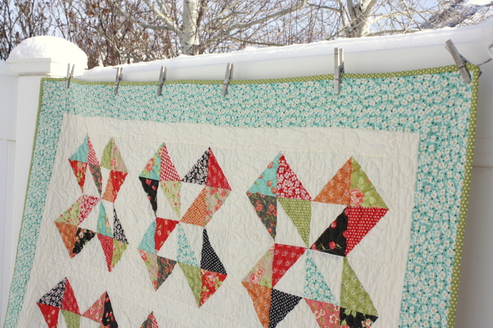 Fig Tree quilt in the snow