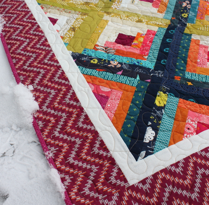 Quilting Blaze Log Cabin quilt