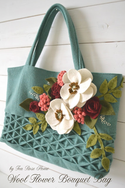 Tea Rose Home Wool flower bag tutorial