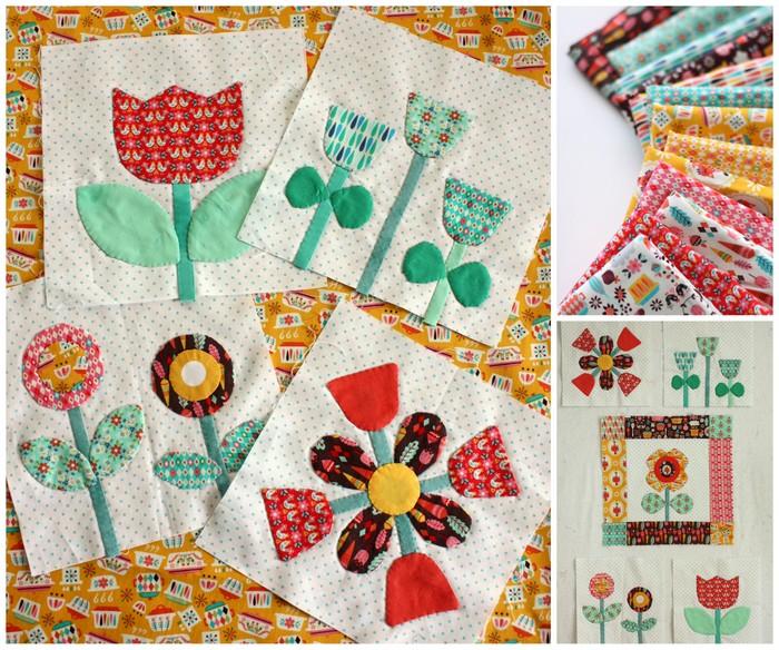 Vintage Kitchen Flower applique blocks